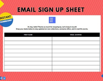 Instant Download | Minimal Email Sign Up List for Pop Up Shops, Craft Shows, Farmer's Markets, Trade Shows, and other Vendor Events