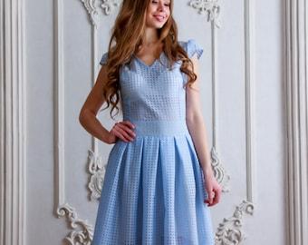 Elegant Blue Midi Dress / High Low Dress / Midi Evening Dress / Elegant  Holiday Dress / Blue Midi Dress / Modest Wedding / DressByNoellia