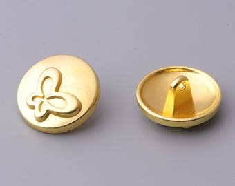 10pcs 18mm  butterfly button gold round button metal button cute button clothing button
