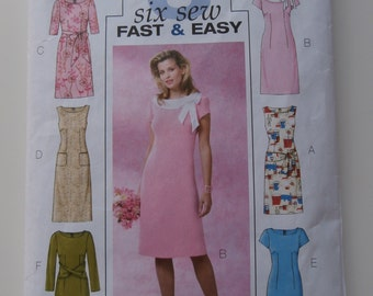 BUTTERICK 4386 Dress Pattern, Size 8/10/12/14, Bust 31.5/32.5/34/36, Semi Fitted Straight Dress, Sheath Dress With Contrast Collar And Bow.