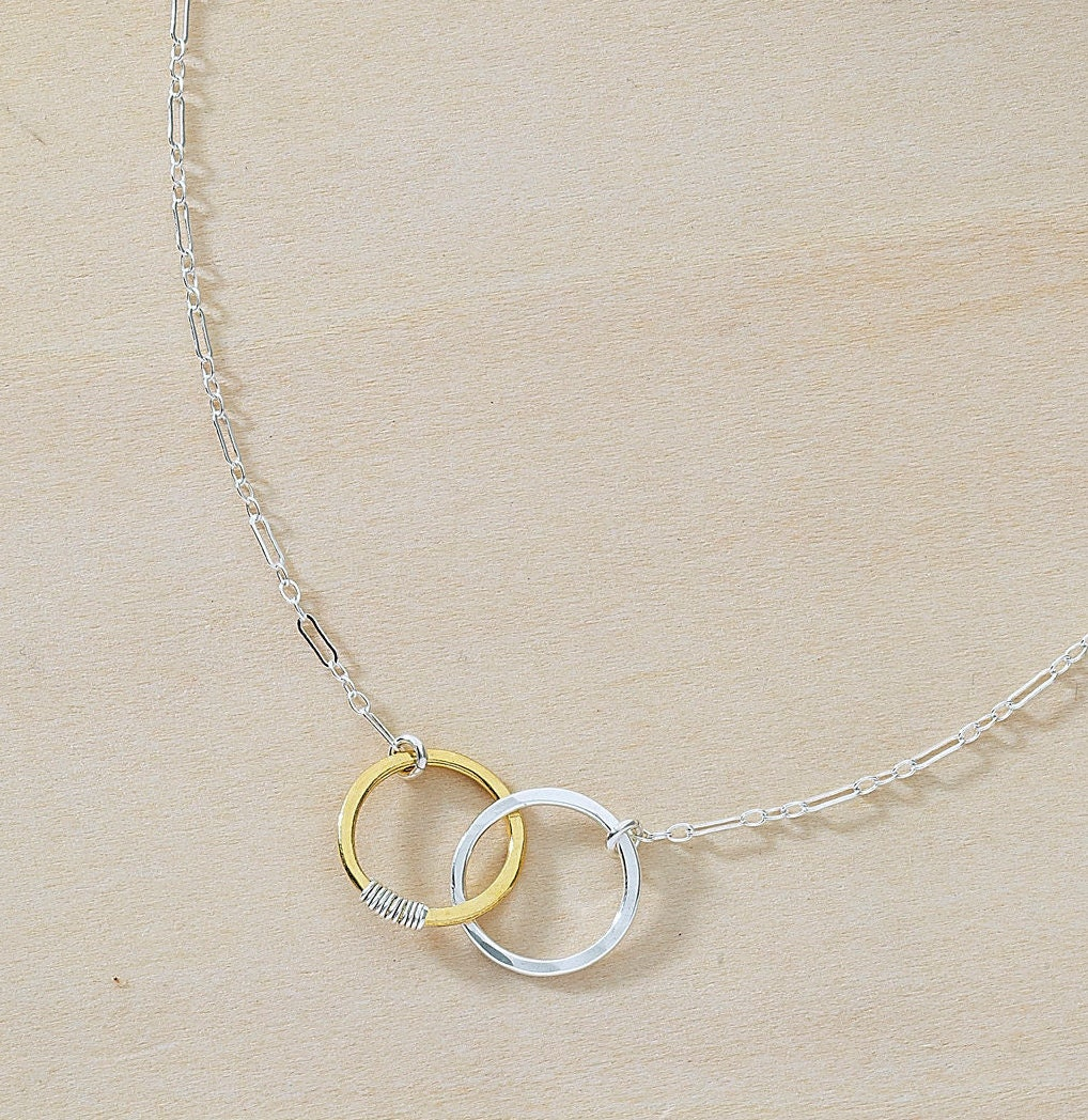 Sparky amie linked circles pendant friendship meaning silver gold sparky amie linked circles pendant friendship meaning silver gold necklace hammered mixed metal aloadofball Image collections