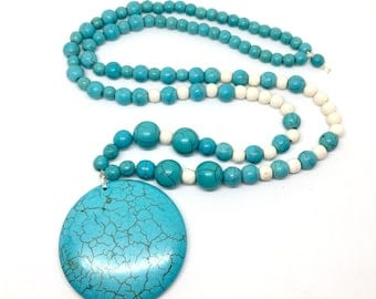 "Turquoise & Howlite Beaded Disk Pendant Necklace - 32"" Long Handmade Beaded Jewelry - Boho Hippie Yoga Fashion"