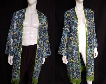 SALE! Sequin Heart Kimono with Metallic Green Fringe - Robe, Festival Clothing
