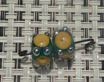 Handmade Lampwork Glass Bead Set Matched Pair Reactive glass Artisan Lamp Work bead Handcrafted bead Generationslampwork SRA