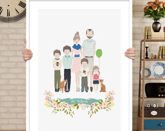 custom family portrait, family portrait drawing, family portrait illustration digital, family portrait with dog, family portrait watercolor