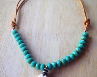 White Small Seashell Choker Boho Bohemian Hippie Beach Inspired Turquoise White OOAK