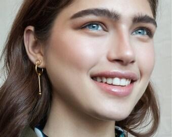 Tami earrings / gold, modernist gold earrings, cocktail earrings, long post earrings, gold statement earrings, bridal earrings gold, contour