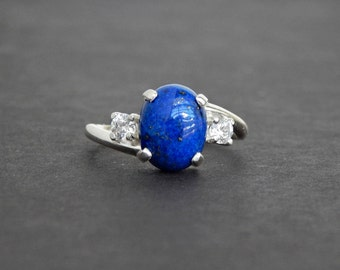 Elena: Lapis and Sterling Ring - white CZ accent, sterling silver swirl, twist, lapis lazuli jewelry, dark blue, December birthstone