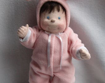 Cloth baby doll, dolls, baby doll, rag doll, cloth doll, soft sculpture doll, soft baby doll, waldorf inspired,  bunny baby doll, handmade