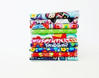 Ladies Handkerchief Set -Womens Hankies -Folk Art -10 Flannel Tissues Reusable Kleenex -Eco Friendly Mother's Day Gift -Matryoshka Dolls