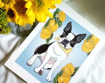 Boston Terrier Lemon Print - 7x9 Eco-friendly Print