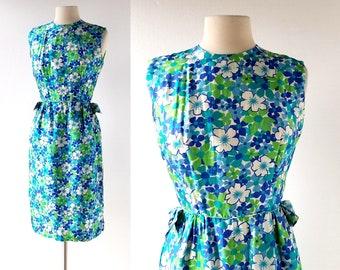 1960s Floral Dress | Silk Shantung Dress | 60s Dress | Small S