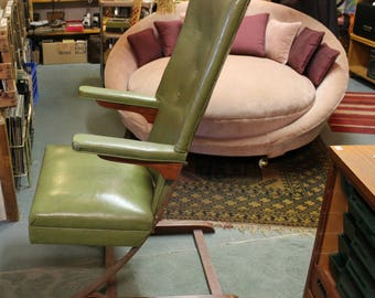 Mid Century Green McKay Cantilever Rocking Chair, Danish Modern High Back Spring Bounce Rocker