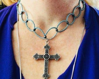Blue Beaded Cross