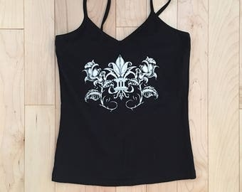Sale, Fleur de Rose, American Apparel, spaghetti tank top with shelf bra, summer, last one, size medium. black