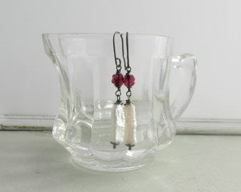 Natural White Keishi Stick Pearls and Carved Garnet Flower--Oxidized Wire Wrap Modern Rustic Earrings