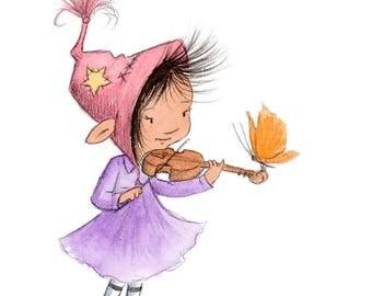 Meridian's Violin - Brunette Girl Playing Violin - Art Print