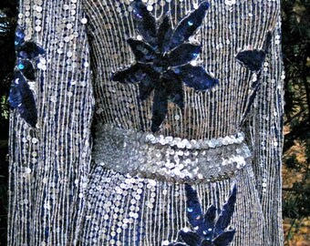 Medium CHRISTMAS Dress, Silver and blue Sequined POINSETTIAS, Sequined New Years Eve dress, Sequin Silver New Years Eve dress