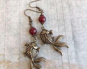 Koi Earrings, Red Gemstone and Crystal, Japanese Koi Fish, Good Fortune