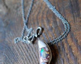 Crescent Moon Rainbow Fire Opal Necklace