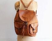 80s vintage leather backpack distressed