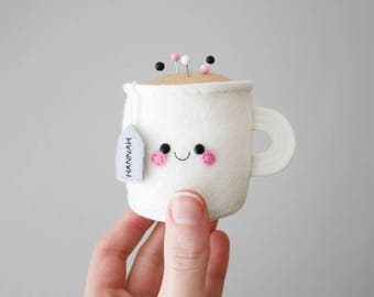 Custom Name Teacup Pincushion, Personalised Felt Pincushion, Kawaii Craft Supply, Sewing Gift