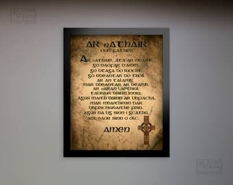 Prayers in Irish, Our Father, Hail Mary, Irish Gaelic language, Irish nursery, baptism gift, Irish Catholic, an ghaeilge, Irish Christmas