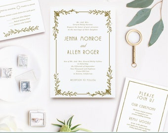 Downloadable Wedding Invitations | Deco Wreath | Print at Home or Online | Word or Pages | MAC or PC |  Instant DOWNLOAD
