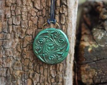 Celtic Triple Spiral Triskele Amulet