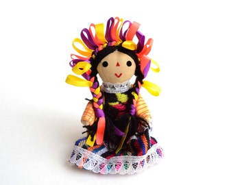 Small Handmade Mexican Rag Doll, Mexican Doll, Rag doll, Gift for little girls, Cotton Doll, Gift for girls, Gift for her, Gifts Under 15