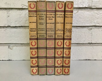 Vintage Signature Book Series // Historical Biographical Books // Marco Polo / Lafayette / Robert E Lee / Helen Keller / Louisa May Alcott