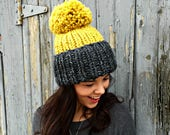 Hand Knit Hat Womens Chunky Cuffed Ribbed Pom Pom Beanie Hat - Charcoal and Citron - MADE TO ORDER