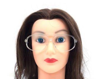 clear eyeglasses frames. aviator glasses. 80s vintage. deadstock vintage. double bridge. eye glasses. plastic eyeglass frames. retro. 294