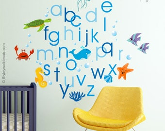Alphabet Wall Decal, Alphabet Wall Sticker, Under the Sea Wall Decal, Sea Life Wall Decal, ABC  Aquarium Fishes Lettering Playroom Decor