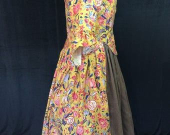Mustard Yellow Chintz Gown, 18th Century, size 18