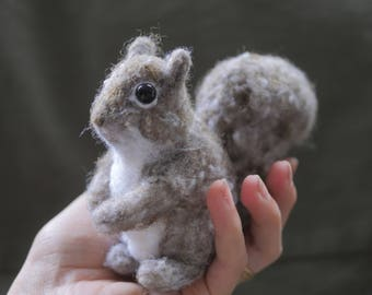 VEGAN friendly fiber - SQUIRREL - needle felted from synthetic materials