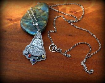 Buddha pendant necklace, Forged sterling silver Buddha pendant, Buddha