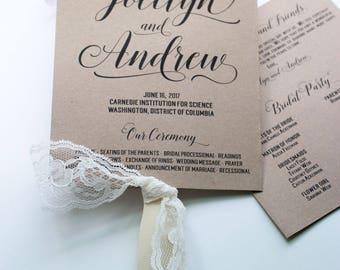 Fan Wedding Program, Kraft Paper Program, Wedding Fans, Rustic Fans, Kraft Wedding Program - The Jocelyn Kraft Wedding Program Fan SAMPLE