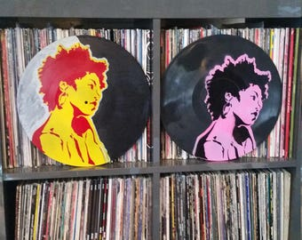 Ms Lauryn Hill the Fugees art upcycled vinyl record painting street art spray paint stencil  record store art Rainbow Alternative