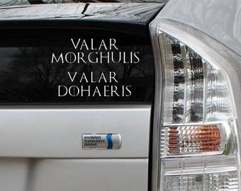 Valar Morghulis Valar Dohaeris Set of two Game of Thrones Rub-On Vinyl Die Cut Decal Bumper Sticker Car Laptop Bike