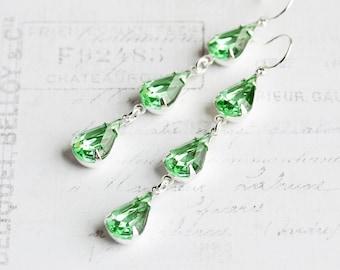 Light Green Rhinestone Teardrop Earrings on Silver Plated Hooks (Vintage Glass)