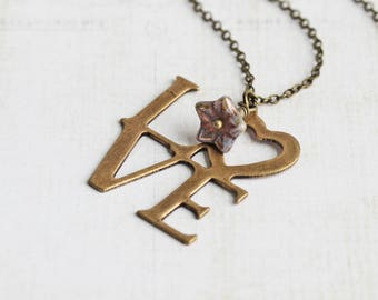 Antiqued Brass LOVE Charm Necklace (Purple Flower Accent Bead Optional)