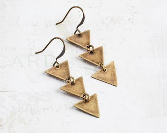 Antiqued Brass Three Triangle Dangle Earrings
