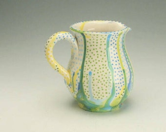 Small Pottery Pitcher or Jug, Blue Green Yellow Drips and Drops Beverage Pitcher, Ceramic Water Pitcher, Flower Vase, Gravy Salsa Sauce Jug