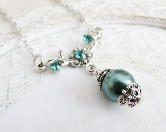 Teal bridesmaid necklaces, teal pearl necklace, flower girl necklace, bridal party gift, bridal jewelry