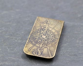 Compass North & South Design Money Clip Etched Brass