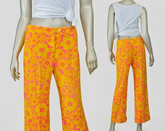60s Pants | 1960s Hawaiian Tropical Floral Pants | Low Rise Flare Pants | Pink Yellow Mod Psychedelic Print Cotton Pants Hip Huggers