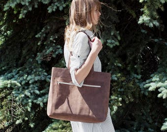Spring SALE Large Brown Distressed Leather Tote bag No. LPB-1012