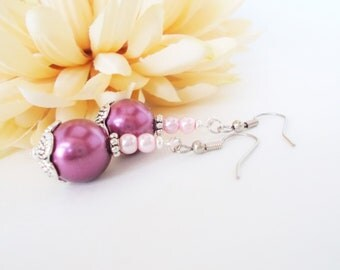 Mauve Earrings, Bridal Pearl Earrings Sterling Silver, Plum Orchid Jewelry Spring Wedding, Bridesmaids Gift, Mothers Day Gift for Grandma