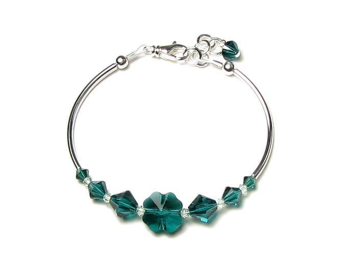 Emerald Green Swarovski Crystal Shamrock St. Patrick's Day Silver Bracelet Four Leaf Clover Beaded Women's Spring Jewelry March Holiday Gift